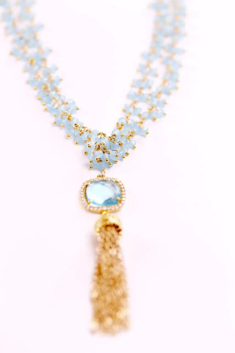 aquamarine tassel necklace | via Best Aquamarine Jewelry Finds on Etsy - http://emmalinebride.com/bride/best-aquamarine-jewelry/