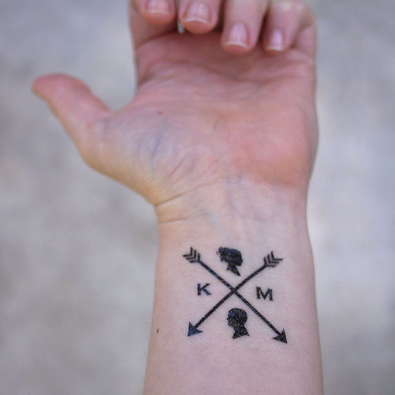 arrow and silhouettes temporary wedding tattoos