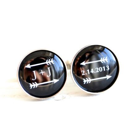 arrow cufflinks with date and initials