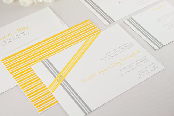 assymetrical ribbons wedding invitations - modern classic wedding invitations