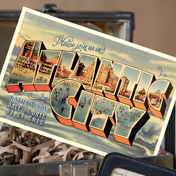 vintage save the date postcards with states on them