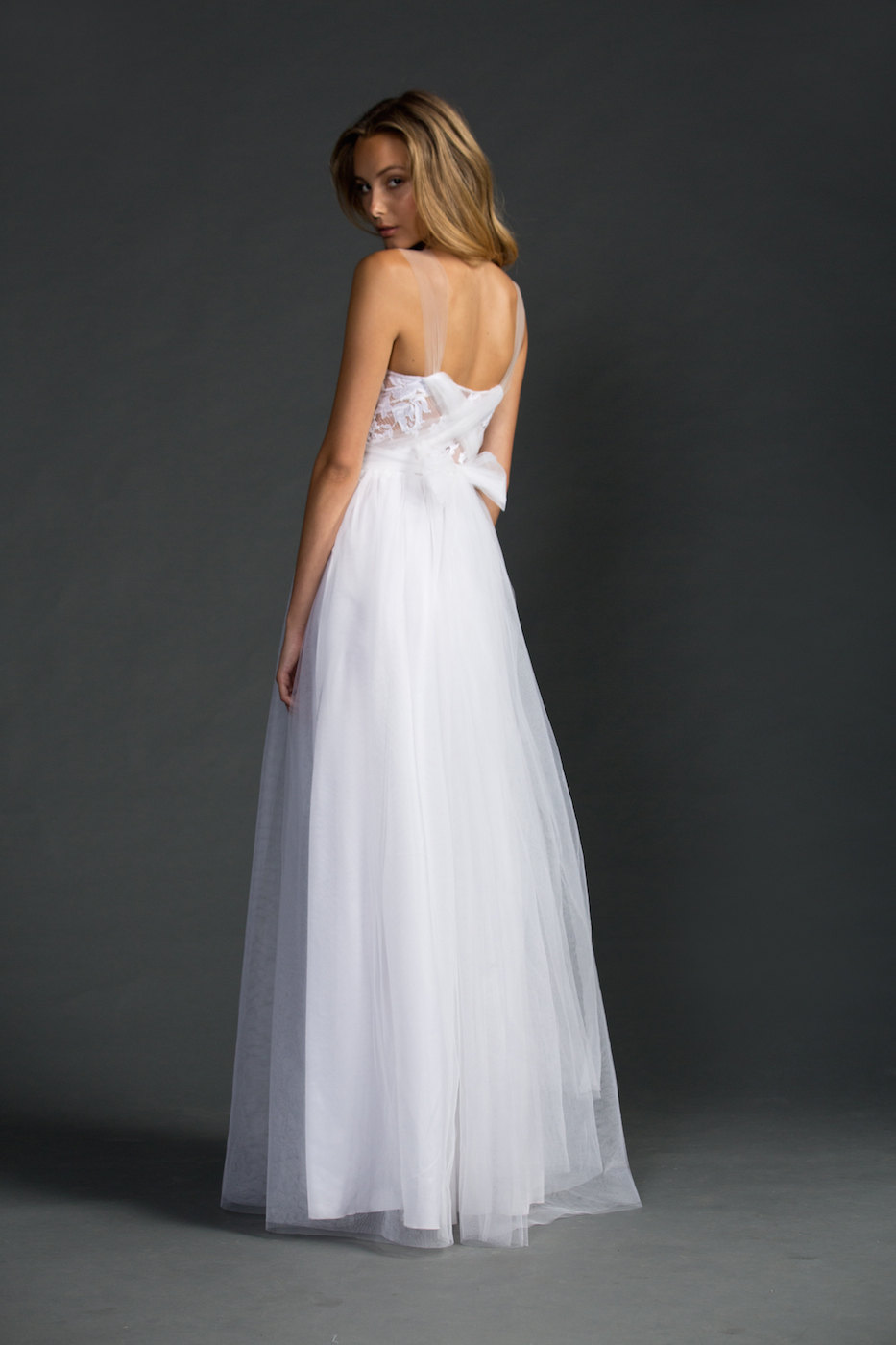back view - dreamy sheer neckline wedding dress | via http://emmalinebride.com/bride/sheer-neckline-wedding-dress/