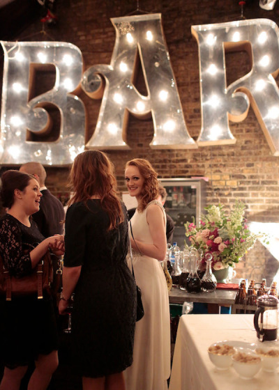 bar wedding marquee lights