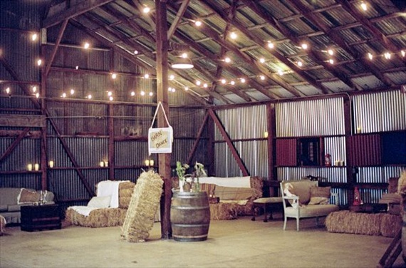 barn wedding dance area