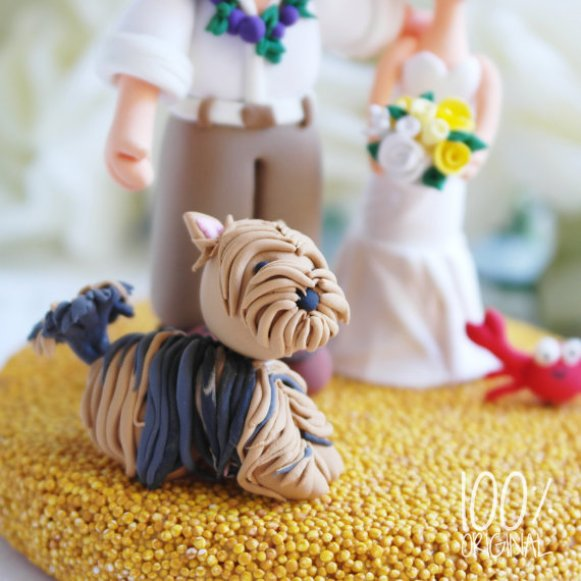beach wedding bride groom topper yorkie