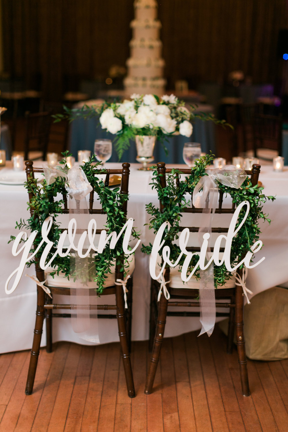 large script chair sign | via bride and groom chair signs //emmalinebride & Bride and Groom Chair Signs: 42 Handmade Wedding Ideas