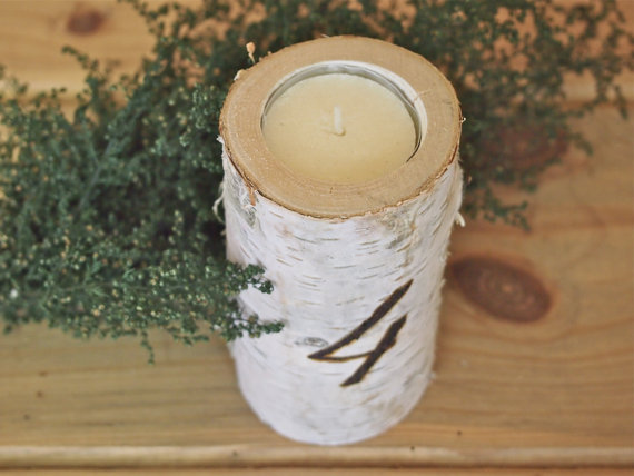 7 Unique Table Number Holders - birch branch holder by the flower patch