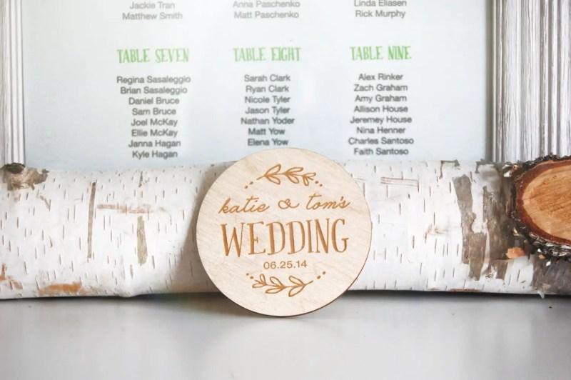 birch wedding coasters personalized