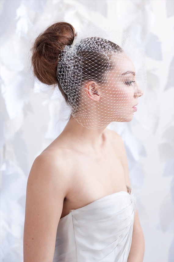 vintage inspired birdcage veil bride with bun strapless dress