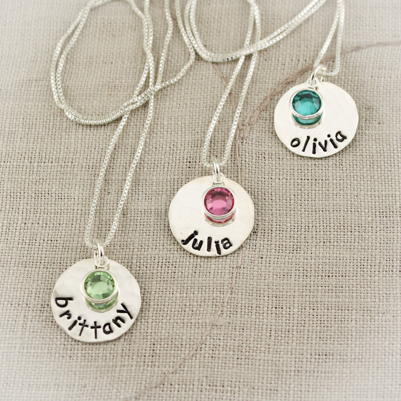 birthstone necklaces with handstamped names | birthstone jewelry gifts | http://emmalinebride.com/gifts/birthstone-jewelry-gifts/