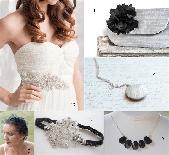 black and silver wedding attire - bride