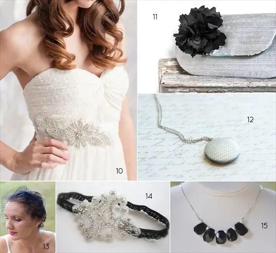 black and silver wedding attire - bride