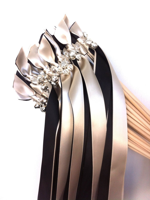 black and white ribbon wands with bells