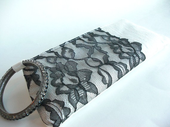 wedding wristlet - black modern lacy keep bag