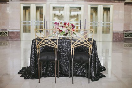 Black sequin tablecloth | Black and White Wedding Color Board - http://emmalinebride.com/color/black-and-white-wedding-color-board/