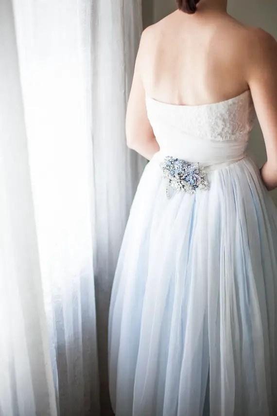 blue silver dress sash image