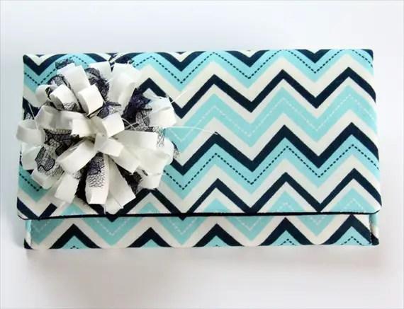 blue white chevron clutch purse