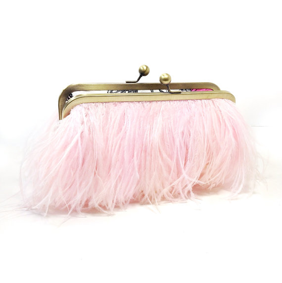 bridal clutch bags - blush pink feather clutch