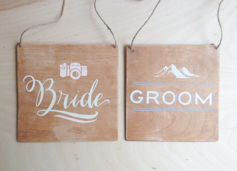 bride and groom mountain wedding chair signs | 50+ Amazing Mountain Wedding Ideas http://emmalinebride.com/rustic/mountain-wedding-ideas/