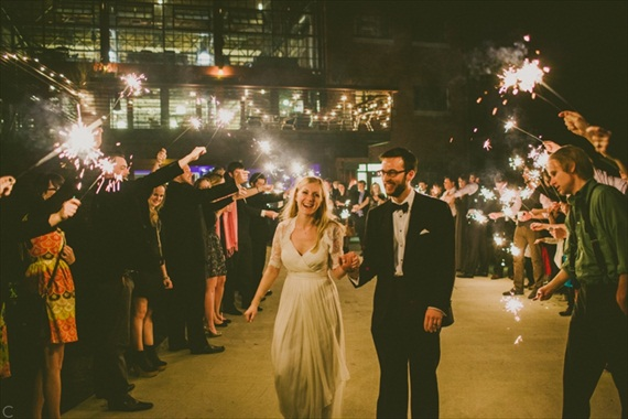 bride and groom real wedding sparkler exit - via newly engaged: 8 things to do right now