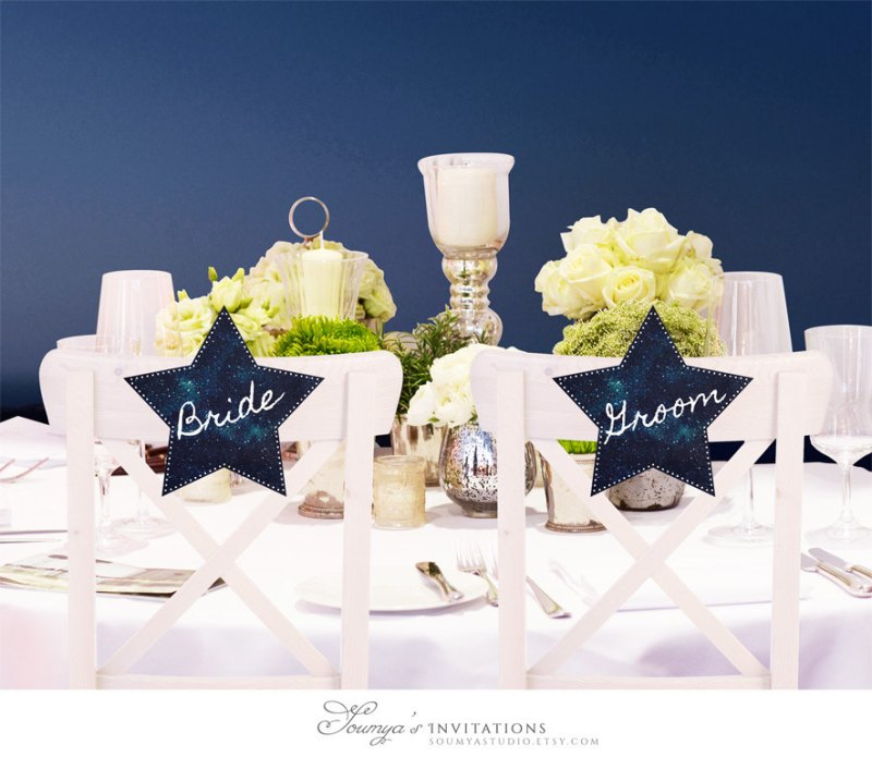 bride groom chair signs under the stars constellation wedding by soumyasinvitations | via Starry Night Weddings http://emmalinebride.com/vintage/starry-night-weddings-ideas/