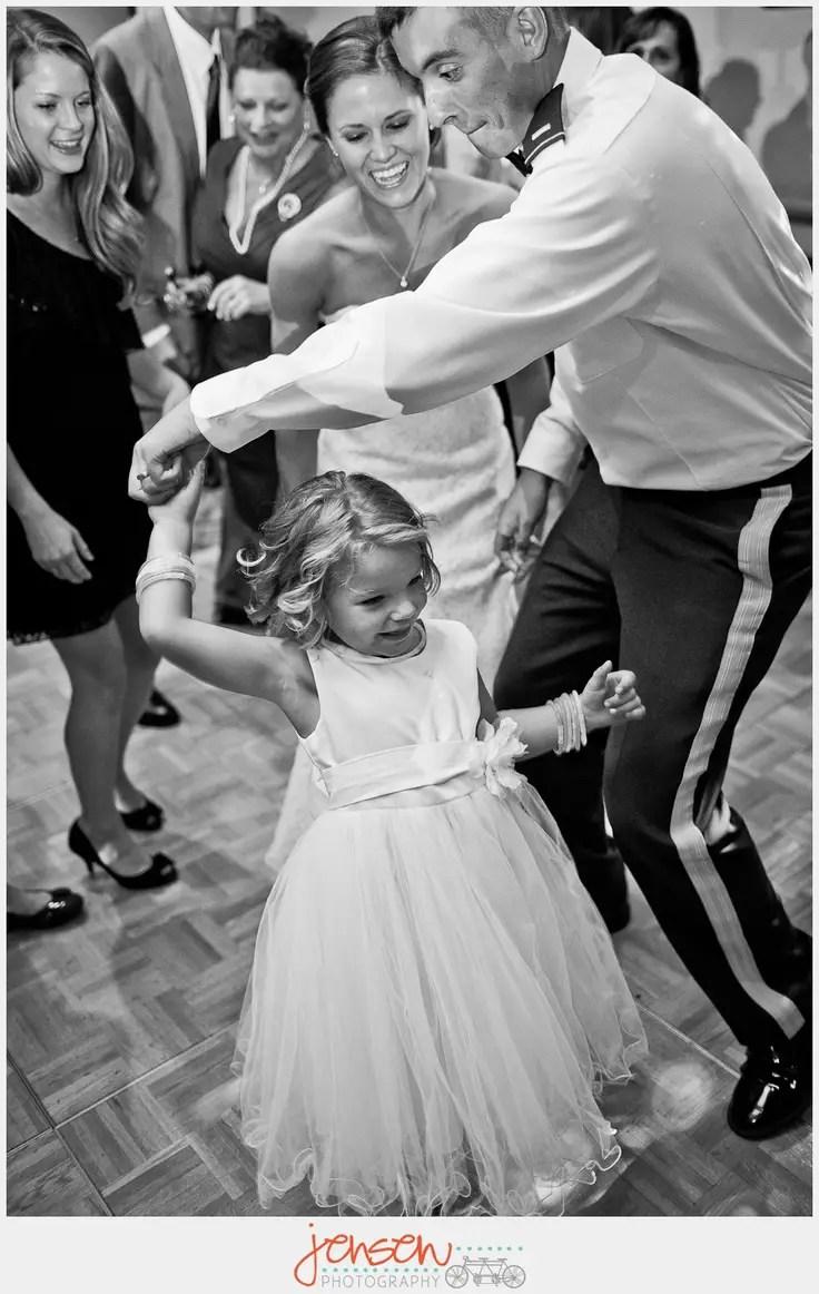 bride groom dancing with flower girl (photo: jensen photography)