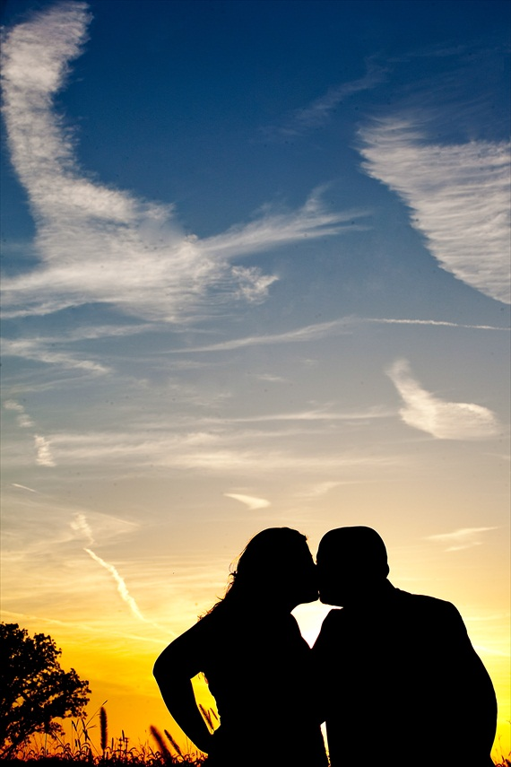 Fall Wedding - bride and groom sunset silhouette photo