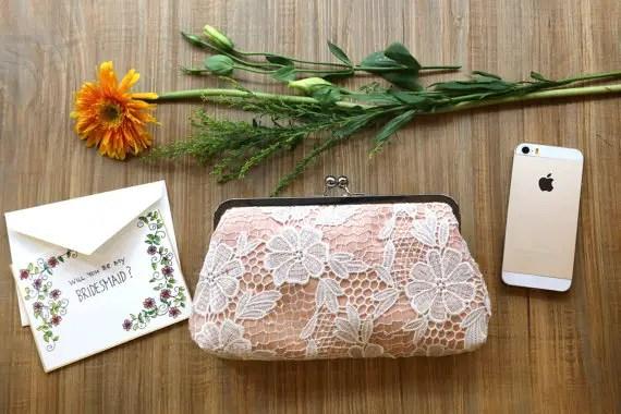 bridesmaid lace clutch purse