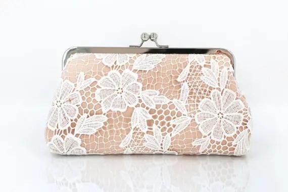 bridesmaid peach lace clutch purse
