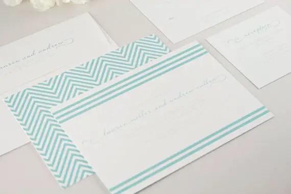 brighton aqua striped wedding invitations