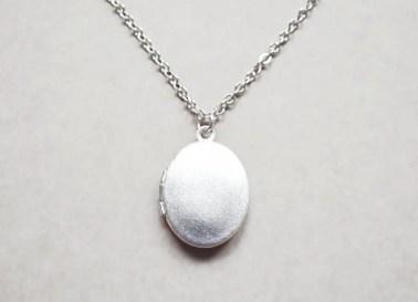 brushed silver locket
