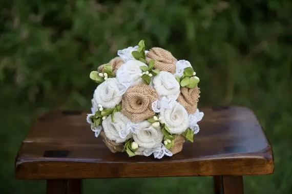 Burlap Wedding Bouquet (by Jane's Daughters via EmmalineBride.com) #handmade #wedding #bouquets