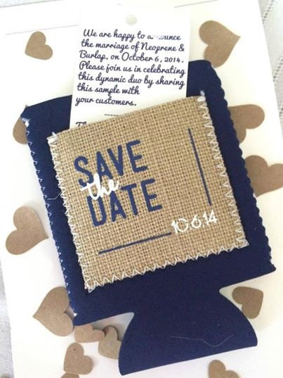 burlap koozie save the dates | 35 Easily Beautiful Ways to Use Burlap for Weddings http://emmalinebride.com/rustic/ways-use-burlap-weddings/