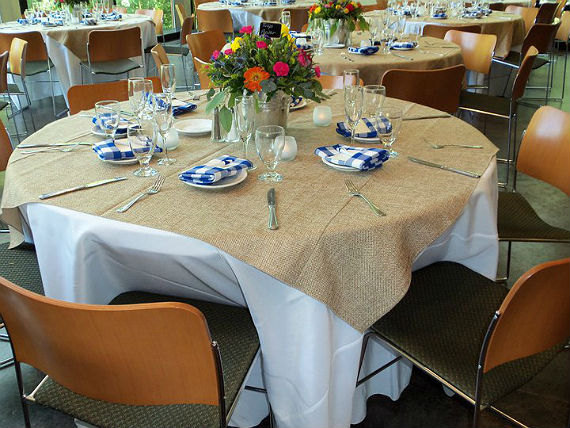 burlap table overlay