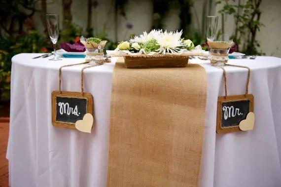 burlap table runner for sweetheart table