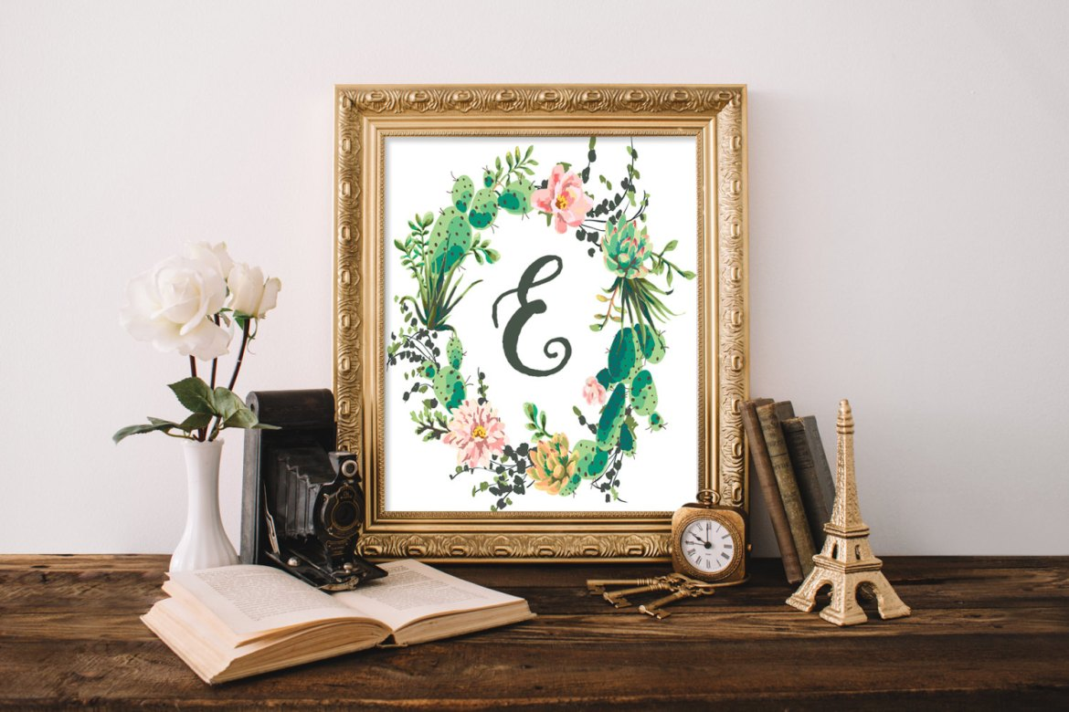 cactus weddings monogram print by happy life printables in E