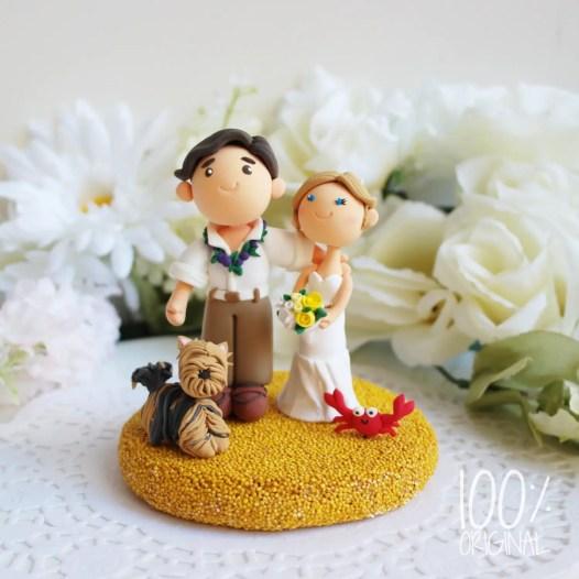cake topper beach wedding yorkie
