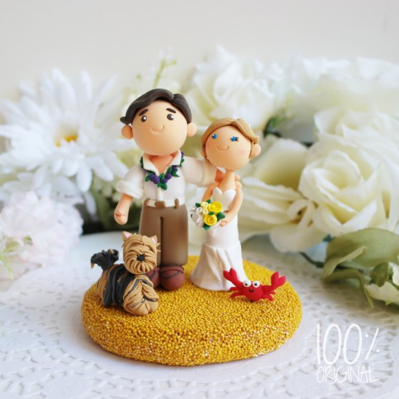 cake topper beach wedding yorkie