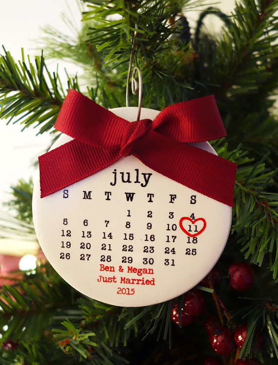 calendar style first christmas married ornament by rachelwalter via 50+ First Christmas Ornaments Engaged / Married
