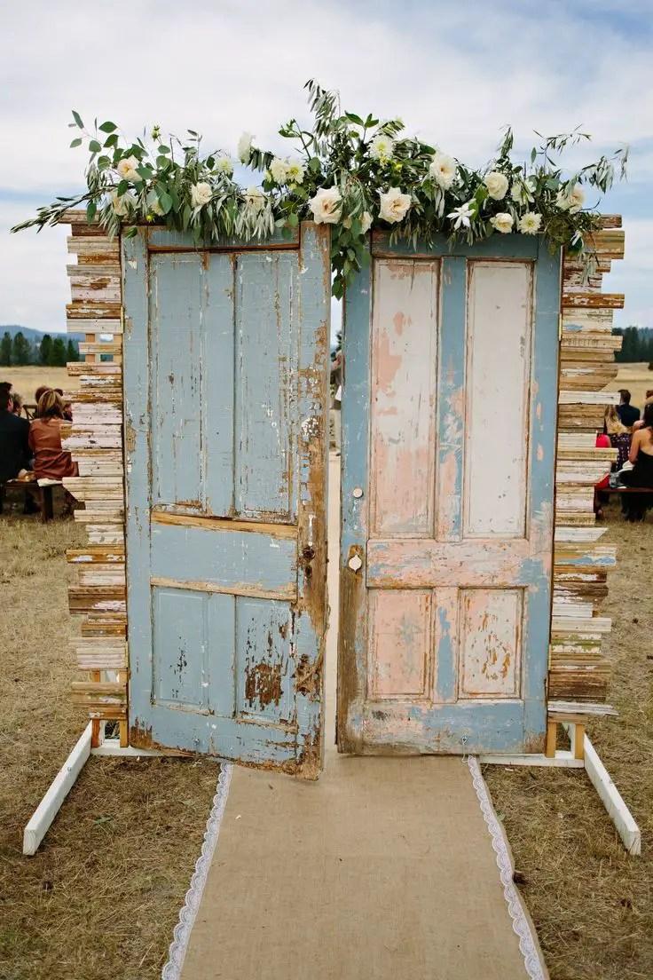 wedding ceremony decor backdrop with doors | Ceremony Backdrops Doors | photo Green Door Photography & 14 Most Beautiful Ceremony Backdrops Using Doors