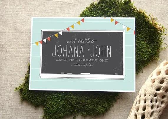 14 Chalkboard Wedding Ideas - chalkboard save the date (by cheer up press)