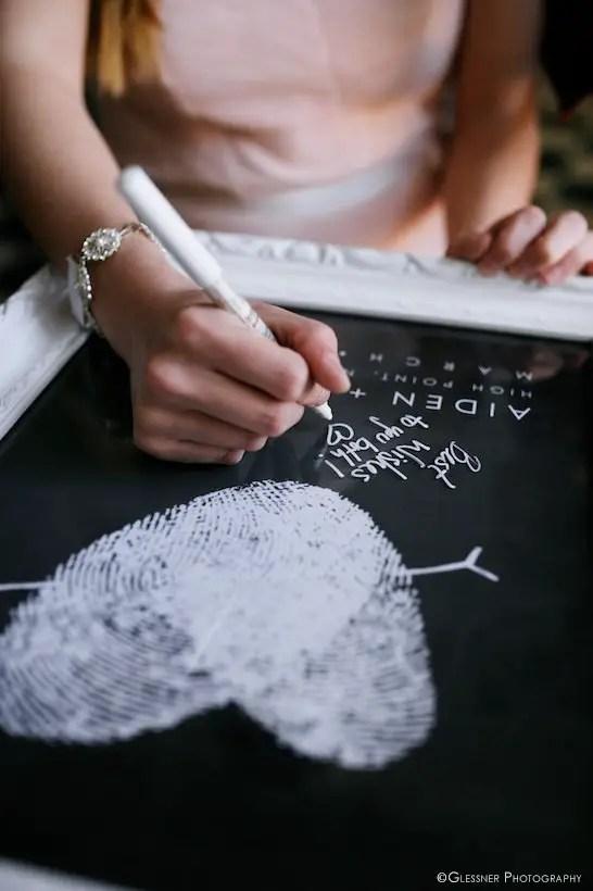 Wedding Fingerprint Guest Book Poster | http://emmalinebride.com/planning/wedding-fingerprint-guest-book/