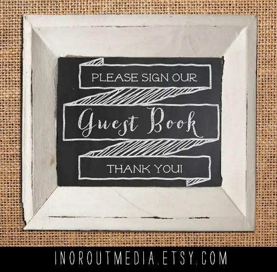 14 Chalkboard Wedding Ideas - chalkboard wedding guest book sign (by in or out media)