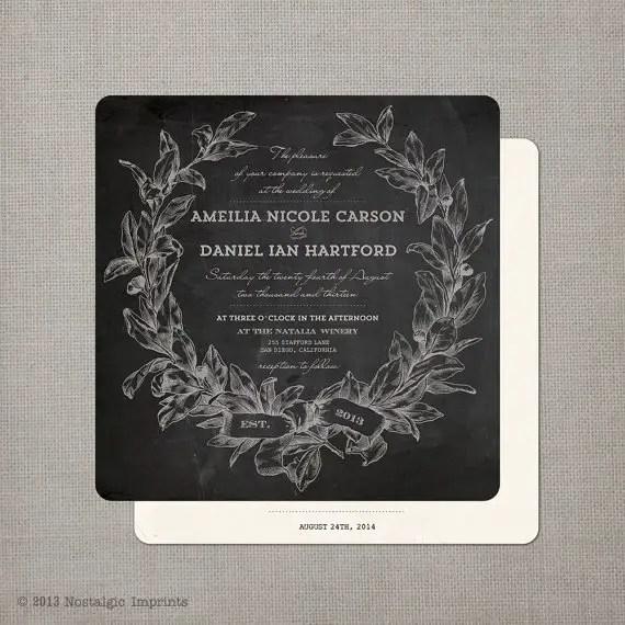 14 Chalkboard Wedding Ideas - chalkboard wedding invitation (by nostalgic imprints)