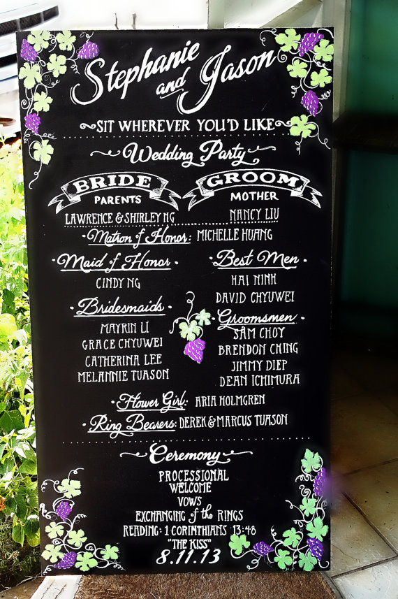 chalkboard wedding program sign