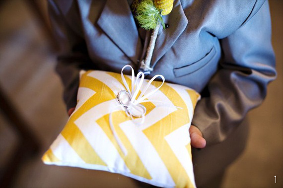 16 Chic Chevron Wedding Details - ring pillow