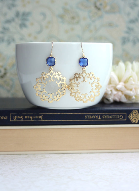 gold and blue earrings - moroccan wedding jewelry