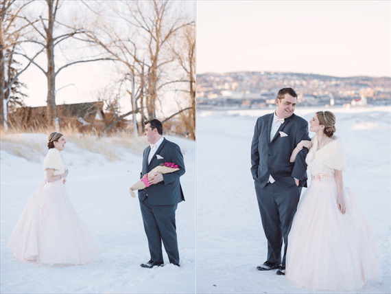 Duluth winter wedding - LaCoursiere Photography - bride and groom's first look
