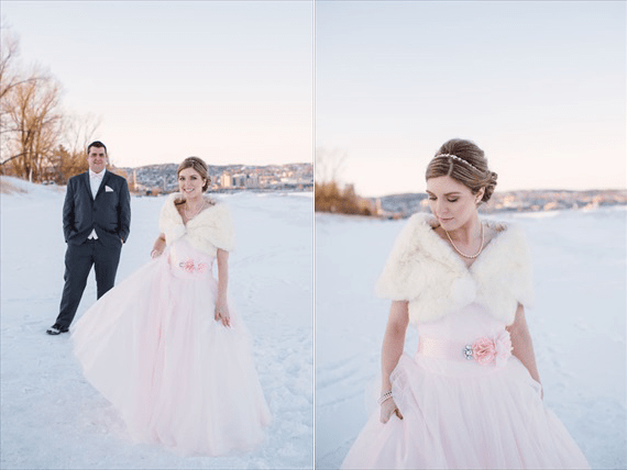 Duluth winter wedding - LaCoursiere Photography - bride and groom in the snow
