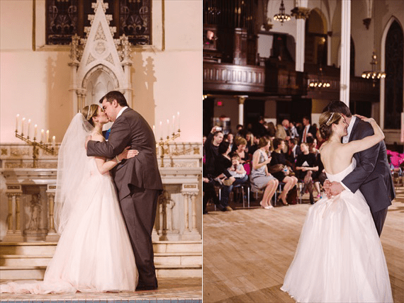 Duluth winter wedding - LaCoursiere Photography - bride and groom married at the altar
